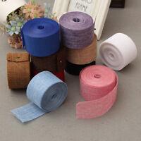 5cm*10m Natural Jute Burlap Ribbon Fabric Roll Hessian Trims Tape Rustic DIYODUS