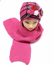 New Scarf And Hat Set Womens Warm Knitted Beanie Scarves Knit Skullcaps Winter