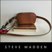 Steve Madden Woman Faux Leather Belt Bag & Fanny Pack Brown Nwt