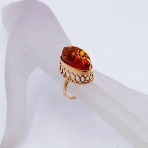 Sowjetischer Bernstein Ring / 4,1 Gramm - 583 14  Karat Roségold / Gr. 49 / 4605