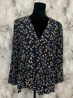 LOFT Size L Dark Blue Floral Pleated Peplum Peasant Blouse NWT