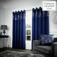 Catherine Lansfield Fully Lined Glitzy Glamour Silky Sheen Eyelet Curtains Navy