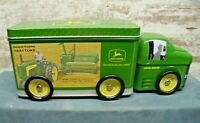 Collectible John Deere Tin Truck W/6 Turning Wheels & Removeable Lid Top