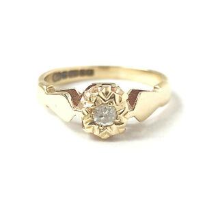 Vintage Gold Diamond Ring Ladies 9ct Yellow 1979 2.1g Size J Fully Hallmarked