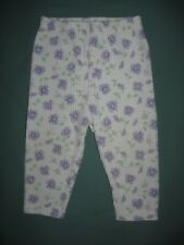 Little By Little white and violet pansy flower print leggings age 12 months