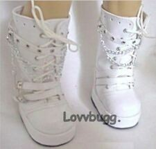 """White Patent Tall Rocker Boots for 18"""" Doll Shoes Clothes American Girl  Cutest!"""