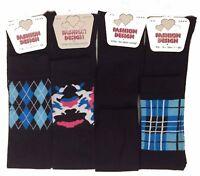 2x Ladies Womens Over The Knee High Festival Socks Lot Cotton Blend Black 55cm
