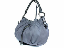 Authentic PRADA Nylon Canvas Leather Gray Shoulder Bag PS14108L