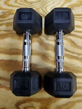 10 LB Rubber Coated Hex Dumbbells Set of 2 - 20 lbs Total- Brand New Excellent
