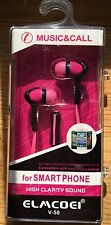 Earbuds Earphone Headset with Remote Mic for Phone SmartPhone Compatible Pink