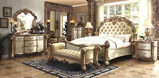 ACME Vendome carving master bedroom set cherry finish leather antique white