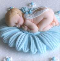 Edible baby boy and flower Christening / Baby Shower cake decoration topper