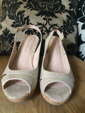 Dorothy Perkins Glittery Gold Wedge Shoes/sandals Size 5