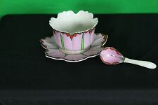 Vintage 1920's Hand Painted Serving Bowl Spoon Saucer Set Antique Takito