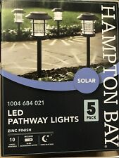 Hampton Bay Solar LED Pathway Lights Zinc Finish 10 Lumens- 5 PACK - NXT-2353