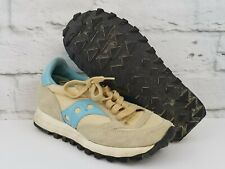 Saucony Womens Jazz Shoes Size 5 Tan Baby Blue Sneaker Indy 500 Rubber Sole