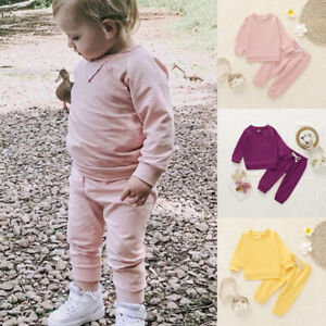 Toddler Kids Baby Girls Tracksuit 2PCS Sweatshirt Tops+Pants Set Clothes Outfits