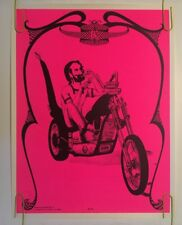 Vintage Blacklight Poster Zig Zag Chopper Man Smoking Motorcycle Pin-up 1969 60s