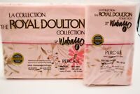 Vintage Wabasso Royal Doulton Percale Queen Flat Bed Sheet Pink Floral Sandprite