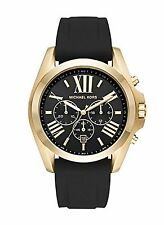 NEW Michael Kors MK8578 Men's Bradshaw Gold Black Silicone Chronograph Watch