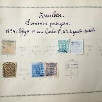 6 Timbres 1894 ZAMBESE CARLOS 1er Colonie Portugal Stamps 19thC