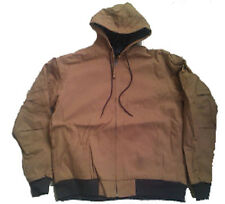 MENS WORK JACKET HOODED Insulated Waterproof Brown Cotton Duck Size 2XL
