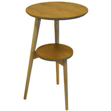 Retro Solid Wood Tripod Leg Round Table with Shelf - Natural STZ6007