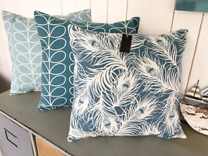 CUSHION COVER TEAL DUCK EGG BLUE WHITE OSTRICH FEATHER DECO COUNTRY CHRISTMAS d