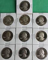 1990 Thru 1998 S PROOF Washington Quarter 9 Coin Lot Nine 25c Coin Twenty Five