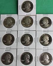 1980 - 1989 PROOF Washington Quarter 10 Coins Twenty Five Cent Coin Lot Set