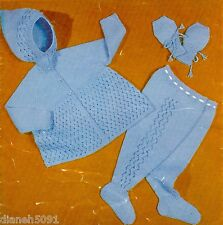 """Baby Set Knitting Pattern Hooded Sweater Leggings & Mitts Sizes 18 & 20 """" Chest"""