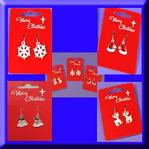 Christmas Earrings Pierced Santa Hat Reindeer Snowflake Jingle Bells Xmas Gift