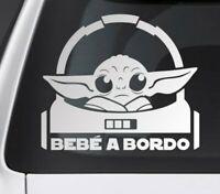 Pegatina bebe a bordo Yoda seguridad niño coche 18 cm