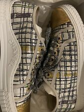 CHANEL Tweed Fabric Gold Trainers Size 5 / 38