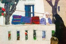 Lilly Kristensen MYKONOS Original Wool Collage, Greece, MAKE AN OFFER!