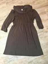 Old Navy Dress Size S Brown Wide Turtleneck Elastic Waist 3/4 Sleeves Cute EUC