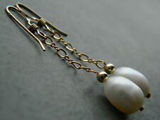 Oval Ivory Freshwater Pearls & 14ct Rolled / Filled RG Gold Bridal Drop Earrings