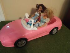 Barbie Convertible Pink Car and two Barbies