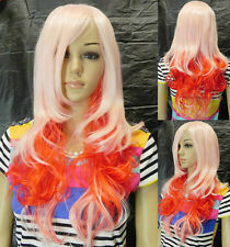pink orange Mixed  Color Synthetic Hair Cosplay Full Wig Wavy Straight for Party