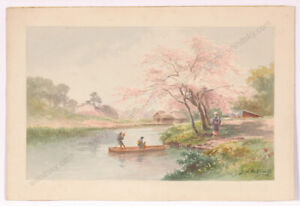 """Matsumoto Shisui (b. 1887) """"Japanese riverscape with boat riders"""", watercolor"""