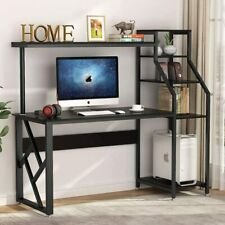 """60"""" Large Rustic Office Desk Computer Table Studying Writing Desk with Hutch TU"""