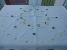 """Vintage Hand Embroidered Tablecloth 40"""" x 37"""""""