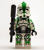 Lego Star Wars Custom Clone Trooper Commander Deviss (Green) with DC15A+Jetpack