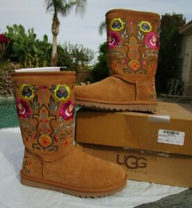 NEW W box UGG Juliette embroidered boots women 6 M chestnut