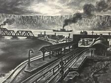 WPA Lithograph Harold Faye Railroad Station Pencil Signed Listed Nice!