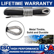 """1/4""""X 50' 10000Lb Synthetic Winch Rope Line Recovery Cable 4Wd Atv Gray W/Sheath"""