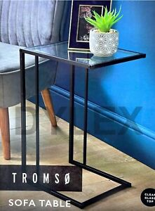 Sofa Side Table With Clear Glass Top Coffee End Table Living Room/ Bedroom