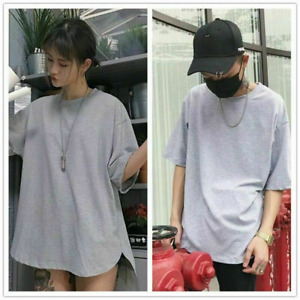 Mens Casual and Women Solid T-shirt Couple Tee Oversized Tops Split Short Sleeve
