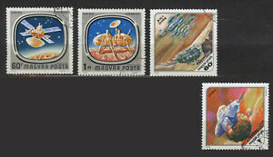 4 stamps. SPACE. Hungary 1976, 1978.