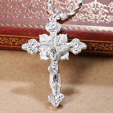 Women Men Jewelry Jesus 925 Silver Cross Pendant Chain Choker Necklace 24inches